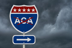 Repealing and replacing the Affordable Care Act healthcare insurance. Red, white and blue interstate highway road sign with words ACA marked out with stormy royalty free stock images