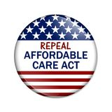 Repealing and replacing the Affordable Care Act healthcare insurance. American election button with words Repeal Affordable Care Act over white vector illustration