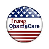 Repealing and replacing the Affordable Care Act healthcare insurance. American election button with words Trump and ObamaCare crossed out isolated over white vector illustration