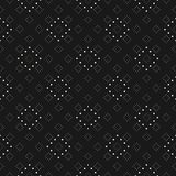 Repeat background with tiny circles in square grid. Subtle minimalist dotted seamless pattern, delicate vector texture in black and white colors. Dark abstract Stock Photos