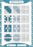 Repeat blue pattern. Cube grid with squares. Special for preschool kids. Worksheet for practicing fine motor skills stock illustration
