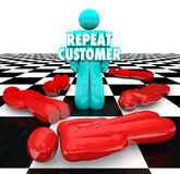 Repeat Customer Loyal Satisfied Faithful Client Return Business. Repeat Customer words on a person standing as a loyal, satisfied, faithful return client for Royalty Free Stock Photography