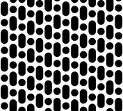 Repeat geometric texture, rounded lines & circles. Vector seamless pattern, monochrome black & white repeat geometric texture, rounded lines & circles. Simple Stock Photo