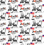 Repeat New York color  pattern white background Stock Photo