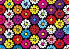 Repeat pattern of bright daisy flowers. Repeat pattern of bright daisy flower vectors on black background Stock Images