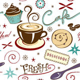 Repeat Pattern Hot Fresh Coffee Shop and Sweets Stock Photography