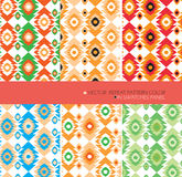 Repeat pattern modern graphic vector set 6 color aztec background Stock Photos