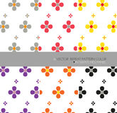 Repeat  pattern set 6 vector flower art white background Royalty Free Stock Image