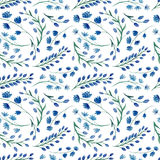 Repeat Pattern With Watercolor Bright Blue Flowers Stock Photography