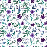 Repeat Pattern With Watercolor Violet Flowers, Berries and Green Herbs. Seamless Repeat Pattern With Watercolor Violet Flowers, Berries and Green Herbs Royalty Free Stock Photos