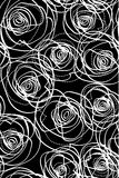 Repeat sample with roses. Repeat pattern with roses in black and white Royalty Free Stock Image