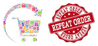 Repeat Shopping Order Composition of Mosaic and Scratched Seal for Sales vector illustration
