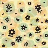 Repeat Spring Flowers Fun Pattern. Repeat spring, Easter, or party pattern featuring spring flowers including tulips. Consisting of fun colors including yellow Royalty Free Stock Photos