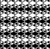 Abstract black and white cube patterns background. Repeat triangle, rhombus and hexagon pattern seamless background vector stock illustration