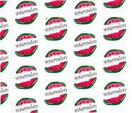 Repeat watermelon pattern hand draw white background Royalty Free Stock Images