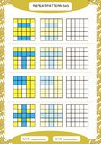 Repeat yellow blue pattern. Cube grid with squares. Special for preschool kids. Worksheet for practicing fine motor vector illustration