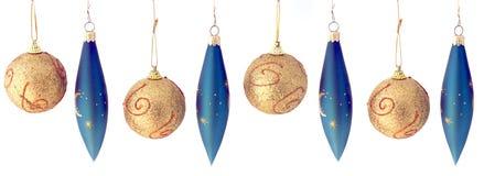 repeatabl för blå jul för bollar seamless guld- Arkivbilder