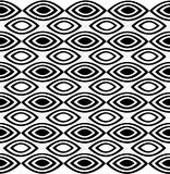 Repeatable горизонтальная картина состоя из чередующ белые и черные остроконечные овалы Стоковые Изображения