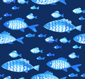 Repeatable fabric pattern with fish. Stock Photo