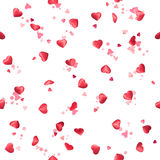 Repeatable, flying hearts. Photographed at various angles and light positions, with depth of field and bokeh circles, isolated on white Stock Photos