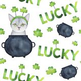 Repeatable pattern with hand drawn water color St.Patrick`s elements: green shamrocks leaves, black iron pot of gold, happy kitty. White backdrop. Fabric Stock Photography