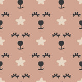 Repeated abstract animal`s faces and stars. Funny seamless pattern for children. Drawn by hand. Brown, black, beige colour. Vector illustration Royalty Free Illustration