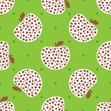 Repeated apples with polka dot. Cute seamless pattern for children. Royalty Free Stock Photography