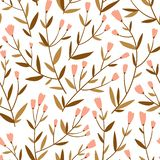 Repeated background with delicate sprigs and little flowers. Cute floral vector seamless pattern. Natural design for wedding invitation or fabric royalty free illustration