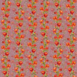 Repeated background with red freesia flowers and pea spots. Seamless floral background with hand painted colorful red freesia flowers Royalty Free Stock Photography