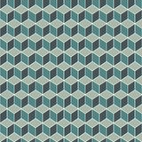 Repeated blue color cubes background. Geometric shapes wallpaper. Seamless surface pattern design with polygons. Cubic motif. Optical illusion. Op art digital Stock Photography