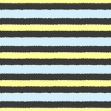 Repeated blue and yellow rough strips. Horizontal stripes on black background. Seamless pattern. Stock Image