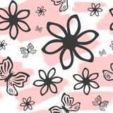 Repeated brush strokes, outlines of flowers and butterflies. Cute seamless pattern. stock illustration