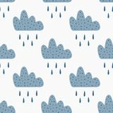 Repeated clouds with falling rain drops. Cute seamless pattern for children. Endless rainy print. Vector illustration stock illustration