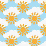 Repeated clouds and suns painted with a rough brush. Colour seamless pattern. Stock Photo