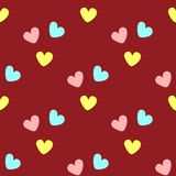 Repeated coloured hearts. Cute seamless pattern. Simple romantic print. Red, pink, yellow, turquoise. Vector illustration stock illustration