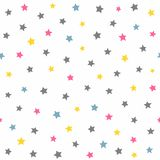 Repeated coloured stars. Cute seamless pattern for kids. Colorful vector illustration royalty free illustration