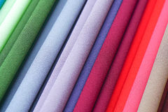 Repeated colours. Colourful fabric on display at market. In Malaysia Royalty Free Stock Photos