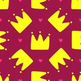 Repeated crowns and hearts. Cute seamless pattern for children. Endless girlish print. Girly vector illustration Royalty Free Stock Photo