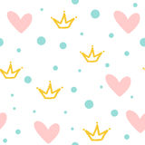 Repeated crowns, hearts and round dots. Cute seamless pattern. Drawn by hand. White, pink, blue, yellow color. Vector illustration Royalty Free Stock Photos