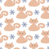 Repeated cute cats and flowers. Seamless pattern for children. Royalty Free Stock Photo