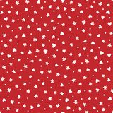 Repeated daisies, hearts and polka dot. Cute floral seamless pattern. Stock Images