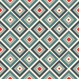 Repeated diamonds background. Geometric motif. Seamless surface pattern design with retro colors rhombuses ornament. Stock Photos