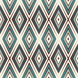 Repeated diamonds background. Geometric motif. Seamless surface pattern design with retro colors rhombuses ornament. Repeated blue diamonds background Stock Photography