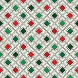 Repeated diamonds and lines background. Geometric motif. Seamless pattern in Christmas traditional colors. With rhombuses ornament. Grid digital paper, textile royalty free illustration