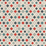 Repeated diamonds and lines background. Geometric motif. Seamless surface pattern with retro colors rhombuses ornament. Stock Photography