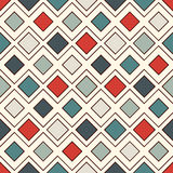 Repeated diamonds and lines background. Geometric motif. Seamless surface pattern with retro colors rhombuses ornament. Royalty Free Stock Photos