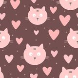 Repeated faces of cats, hearts and round dots. Cute seamless pattern for children. Endless girlish print. Girly vector illustration Royalty Free Stock Images