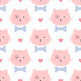 Repeated faces of cute cats with bows and hearts. Girly seamless pattern. Endless print with kittens. Children vector illustration stock illustration