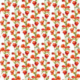 Repeated floral pattern with watercolor drawn lush bright red freesias flower Stock Photos
