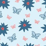 Repeated flowers and butterflies. Floral seamless pattern. Royalty Free Stock Images